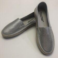 New Pierre Dumas Womens Silver Rhinestone Slip On Sneaker Loafer Shoes Size 8