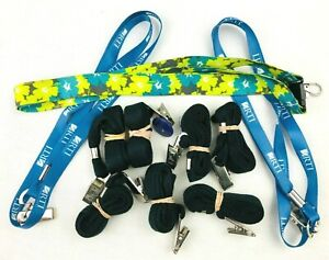 Lot of 10 Unique Lanyards ID Holders Key Ring - Black Shoestring & RTI Brand *Lc