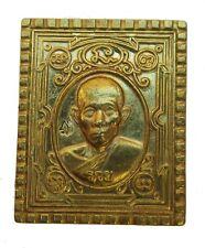 Plaque amulette Bouddhiste Moine bonze en laiton doré plaquette bouddha