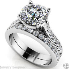 2.90 TCW Round Briliant Cut Moissanite 925 Silver Engagement Wedding Ring Set