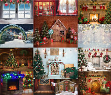 Winter Christmas party Backdrop Xmas Tree Fireplace Photography Background 7x5ft