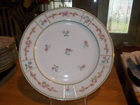 "9 T&V LIMOGES 10.5"" Dinner Plates - Pink Roses w/Floral Band & Gold Trim"