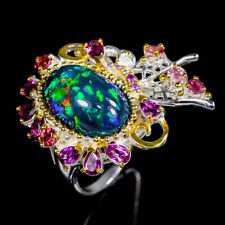Super Top AAA8ct+ Natural Black Opal 925 Sterling Silver Ring Size 8.75/R115602