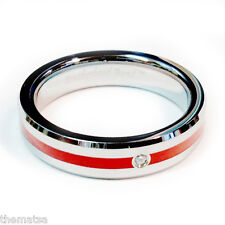 CZ STONE RED LINE CENTER FIREFIGHTER FIRE RING SIZE 5 6 7 8 9 10 11 12 13 14 15