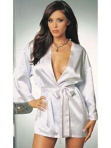 White Sexy Dressing Gown Bath Robe Babydoll Lingerie Nightdress Teddy Kimono