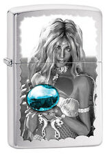 Zippo Brushed Chrome Girl With Blue Orb Windproof Lighter 28651 New