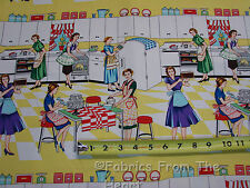 1950 Retro Home Ec Mrs. Perfect Baking Cakes YARDS Michael Miller Cotton Fabric