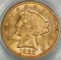 1888 Liberty $2.50 Gold Quarter Eagle, PCGS MS-63, Better Coin