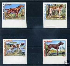 Congo - 1974 - Yv 347/350 Not Serrated, Chiens, New