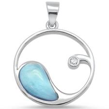 Design .925 Sterling Silver Pendant Natural Larimar & Cz Wave