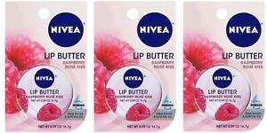 NIVEA Lip Butter Raspberry Rose Kiss Pack 3 Lot 16.7 kg Each New USA Seller