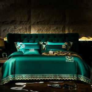 bedding set 4 pcs Real silk & cotton Lace embroidery quilt cover flat sheet set