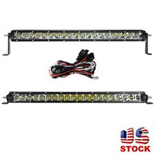 "Slim 22"" 100W Offroad Single Row CREE Chips LED Light Bar Combo Beam +Wiring Kit"