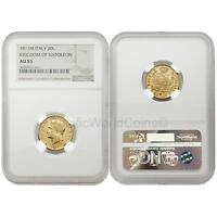 Italy 1811M Kingdom of Napoleon 20 Lire Gold NGC AU55