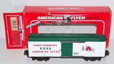 American Flyer 6-48323 Merry Christmas BoxCar Happy Holidays Snowman Tree Sgauge