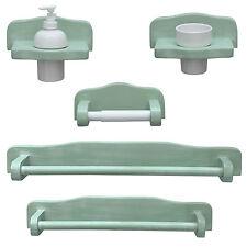 Set accessori bagno completo legno finitura decapè verde arredo shabby classico