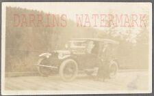 Vintage Car Photo Woman & Roadside 1920 Hupmobile Automobile 697296
