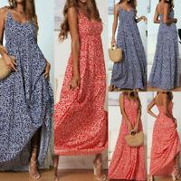 Boho Women Summer Holiday Floral Maxi Kaftan Dress V-neck Long Beach Sun Dresses