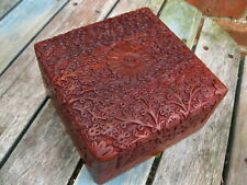 """WOODEN HAND CARVED BOX Storage JEWELLERY INDIAN Trinket MEMORY CRAFT BOX 6""""x6"""""""