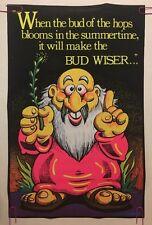 Bud Vintage Blacklight Poster Velvet Flocked Bud Wiser Budweiser Pin-up 1970's