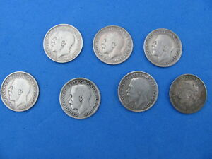 WONDERFUL Lot  of 7 Great Britain Three Pence Silver Coins