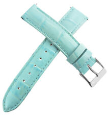 Guess 16mm Womens Baby Blue Genuine Leather Watch Band Strap Silver Tone Buckle