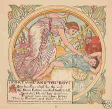 Lady Fortune-1888 ANTIQUE Vintage COLOR Art PRINT-Sleeping Boy-Aesop Fable-Drown