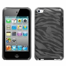 Smoke Zebra Hard Candy Skin Case for Apple iPod Touch 4, Soft Gel Silicon. New