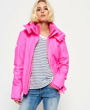New Womens Superdry Pop Zip Hooded Arctic Windcheater Jacket Fluro Pink Marl