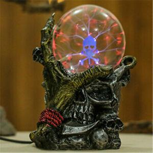 Gothic Black Skull Hand Tesla Glass Plasma Ball Lighting Lamp Party Magical