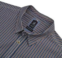 WHITE STUFF L XL Men's Slim Fit Blue Brown Striped 100% Cotton Casual Shirt
