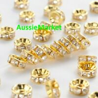 50 x loose spacer beads acrylic plastic gold 8mm x 4mm clear rhinestones crafts