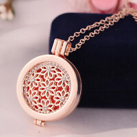 Rose Gold Shine Locket Rhinestone Oil Aromatherapy Diffuser Pendant Necklace
