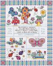 Janlynn Bug In A Rug Baby Birth Sampler Counted Cross Stitch Kit 14 Count Aida
