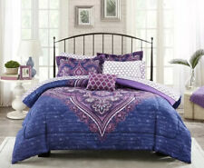 Twin Mainstays Grace Medallion Purple Bed in a Bag Complete Bedding