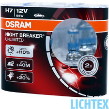 H7 OSRAM NIGHT BREAKER UNLIMITED +110% LAMPADA FANALE DUO-Box-Pack NUOVO