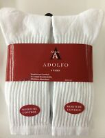 6 Pair  ADOLFO White Crew Socks  #1 Quality Men's size 10-13 made in USA!!!