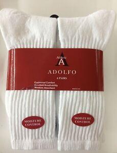 6 Pair  ADOLFO White Crew Socks  #1 Quality Men's size 10-13 made in USA!!!