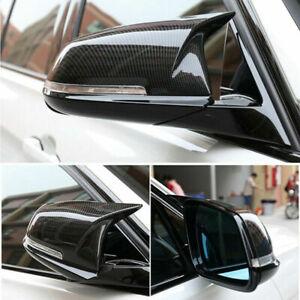 Carbon Fiber Style Rear Mirror Cover Caps For BMW F20 F21 F30 F32 F36 F87 X1 i3