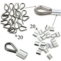 "20 Pack of 3mm Thimbles & Ferrules For 1/8"" Stainless Steel Wire Rope Cable"