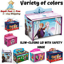 Kids Wooden Toy Storage Box With Slow Closing Lid Disney Character Easy Assembly