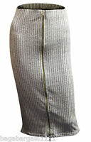 NEW LIPSY GREY RIBBED GOLD ZIP SMART PENCIL SKIRT KNEE LONG OFFICE SIZE 8-18