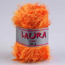 """500g (19€/kg) Fransengarn """" Laura Orange """" Fransenwolle stricken Brazilia"""