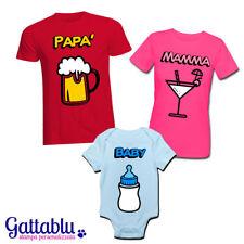 Set famiglia t-shirt mamma e papà + body bimbo drink divertenti PERSONALIZZABILI
