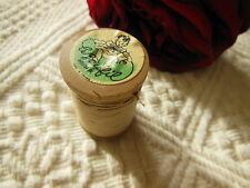 ancienne bobine en bois fil lustex beige à froncé etiquette collection mercerie