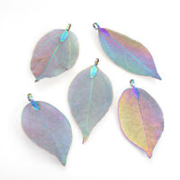 1x Multi-color Plated Electroplated Natural Leaf Big Pendants with Iron Findings