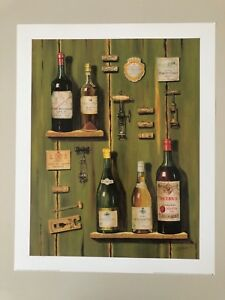 FABRICE DE VILLENEUVE, 'FRENCH WINES II ' RARE AUTHENTIC 1999 ART PRINT