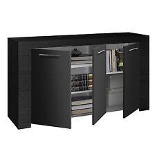 Zenia Sideboard Buffet Unit 3 Door Cabinet Living Room Furniture Black Oak
