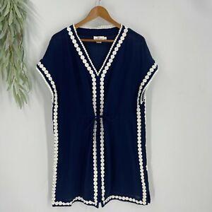Vineyard Vines Cover Up Womens Size Large Navy Blue Drawstring Waist Beach Dress