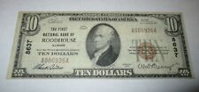 $10 1929 Roodhouse Illinois IL National Currency Bank Note Bill! Ch. #8637 VF!